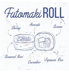 Sushi sketch futomaki roll vector