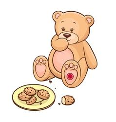 teddy bear eating cookies vector image