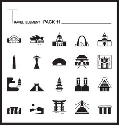 Travel element line icon set 11landmark thin icons vector