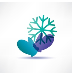 Two mittens with a snowflake vector image vector image