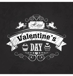 Valentines day emblem on blackboard vector image