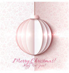 White and pink paper Christmas ball vector image vector image