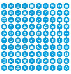100 calendar icons set blue vector