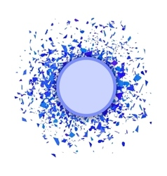 Blue confetti round banner set of particles vector