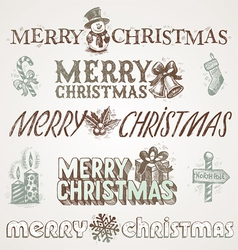 Hand drawn Christmas greetings and signs vector image