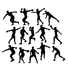 Discus throwing sport activity vector