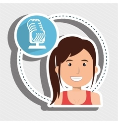 Woman microphone audio speak vector