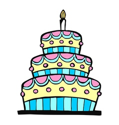 Colorful birthday cake vector