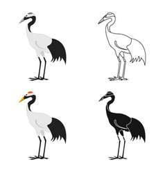 red-crowned crane icon in cartoon style isolated vector image