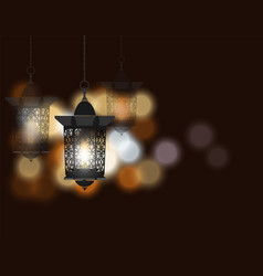 Ramadan kareem celebratory background flashlight vector