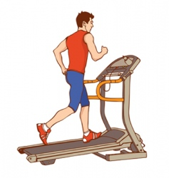 Man on treadmill vector