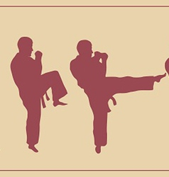 Set of images of the man of engaged karate vector