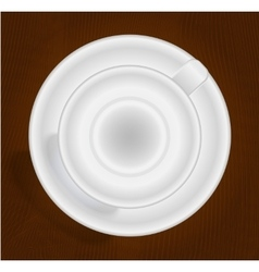 Empty cup for coffee or tea top view vector
