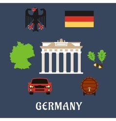 Germany national and travel flat icons vector