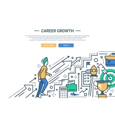 Career growth line flat design website banner vector