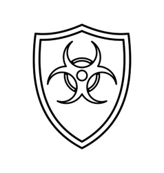 Shield with a biohazard sign icon outline style vector