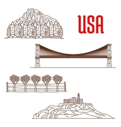 American nature landmarks and sightseeing symbols vector