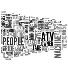 Atv for beginners text word cloud concept vector