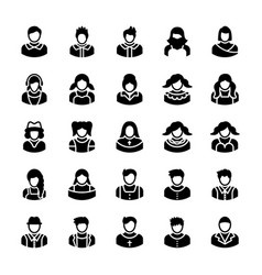 Avatars glyph icons 6 vector