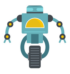 Blue cyborg on wheel icon isolated vector