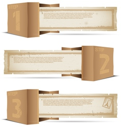Box with old paper and stamps vector image vector image