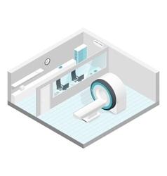 Cabinet mri isometric room set vector
