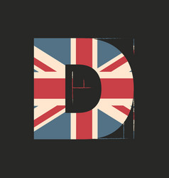 Capital 3d letter d with uk flag texture isolated vector