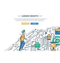 Career Growth line flat design website banner vector image vector image