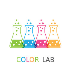chemical colored flasks logo vector image