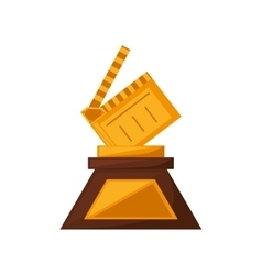 clapper film trophy awards golden vector image