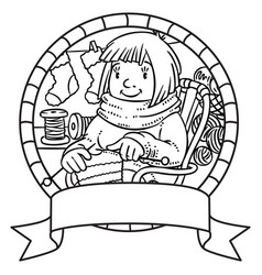 Coloring book with funny knitter women emblem vector
