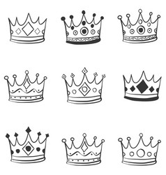 Crown hand draw doodle style vector