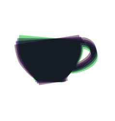 Cup sign colorful icon shaked with vector