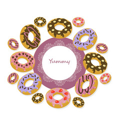 Delicious donuts round card for menu vector