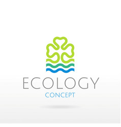 Ecological symbol logo with clover leaf blue vector