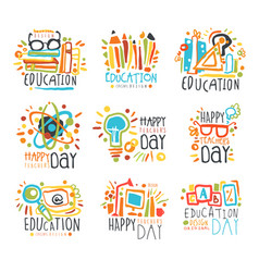 education labels original design set of logo vector image