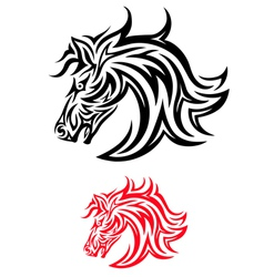 Face horse tribal vector