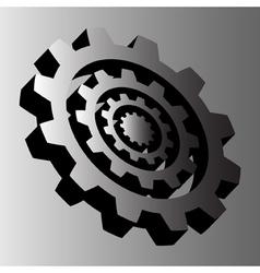 four gray steel cogwheels vector image