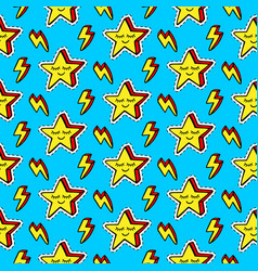 funny cartoon stars patches seamless pattern vector image vector image