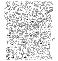 Funny pattern crowd of people faces vector image vector image