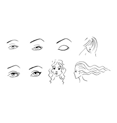 Hand drawn eyes and faces vector image