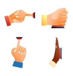 Hands push buttons set vector