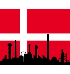 industry and flag of denmark vector image vector image
