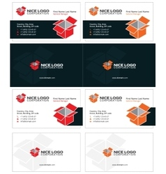 Isometric box business cards 1 vector