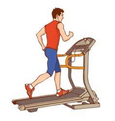 Man on treadmill vector