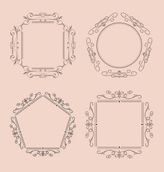 Ornaments and frames vintage elements vector