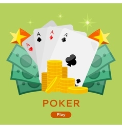 Poker conceptual web banner in flat design vector