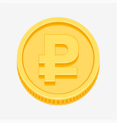 Rouble symbol on gold coin vector