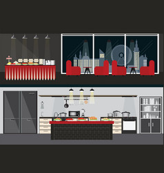 set of restaurant interiors vector image vector image