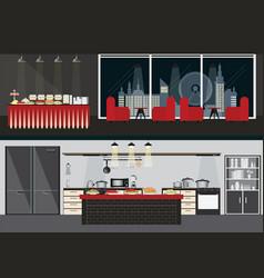 set of restaurant interiors vector image vector image